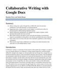 Collaborative Writing with Google Docs by Branden Perry and Sneha Rangu