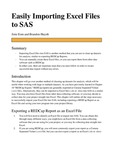 Easily Importing Excel Files To SAS by Jinie Eom and Brandon Huynh